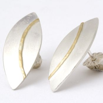 Silver Olive Studs With 18ct Gold Detail