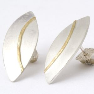 Silver Olive Studs With 18ct Gold Detail - earrings