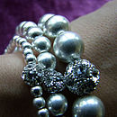 Silver Beaded Bracelet Made With Swarovski Crystals