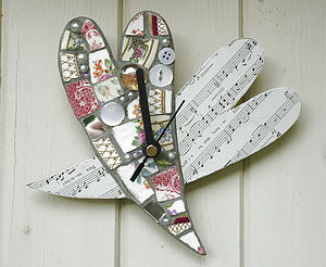 Double Heart Mosaic Clock