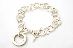 Hammered Small Ring Bracelet With Chunky Hammered Ring - bracelets & bangles