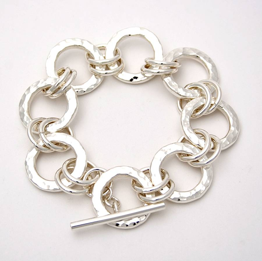Chunky Silver Hammered Ring Bracelet
