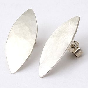 Silver Hammered Olive Stud Earrings