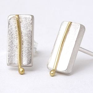 Small Rectangular Studs With 18ct Line Detail