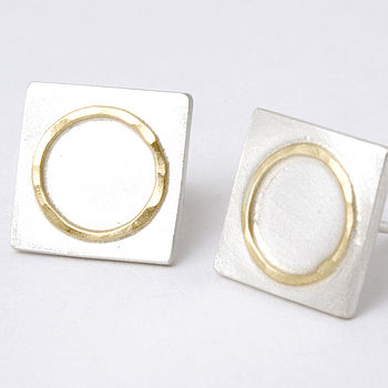 Square Studs With 18ct Yellow Gold Circle Detail