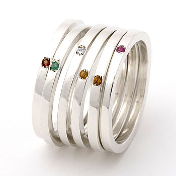 Personalised Skinny Gemstone Stacking Ring