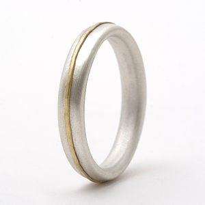 Thin Sterling Silver Ring With 18ct Yellow Gold Detail - wedding jewellery