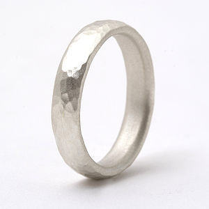 Thin Sterling Silver Hammered Ring - wedding rings