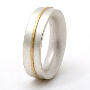 Medium Sterling Silver Ring With 18ct Gold Detail - men's jewellery