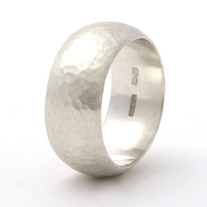 Chunky Sterling Silver Rounded Hammered Ring - wedding rings