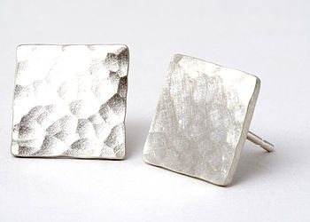 Hammered Square Stud Earrings With A 'Brushed' Matt Finish
