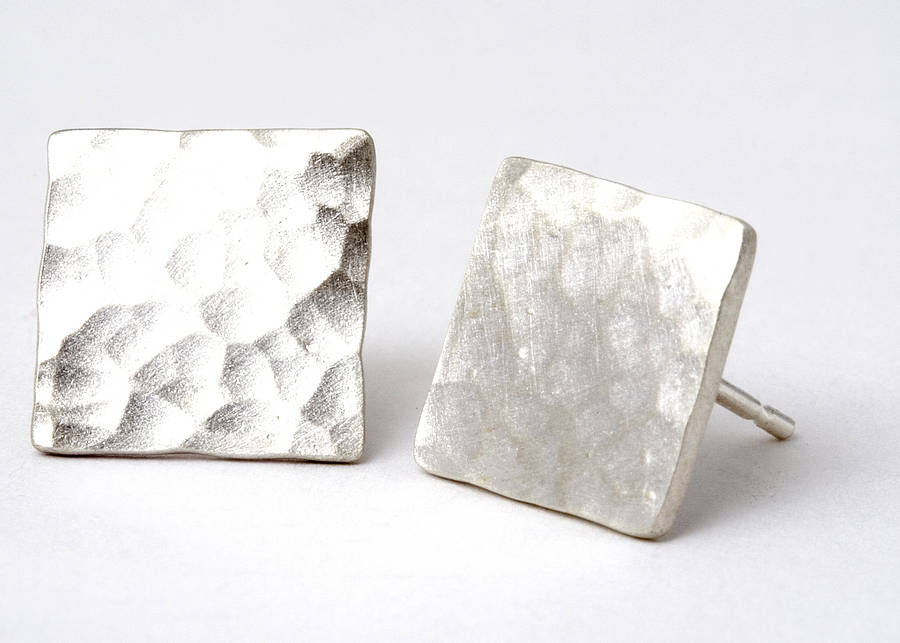 Hammered Square Stud Earrings With A Brushed Matt Finish