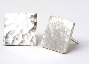 Hammered Square Stud Earrings - earrings