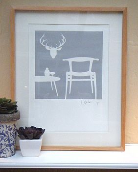 Stag's Head And Chair Print