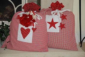 Christmas Santa Sacks, Heart or Star