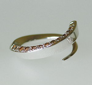 18ct White Gold and Cognac Diamond Ring