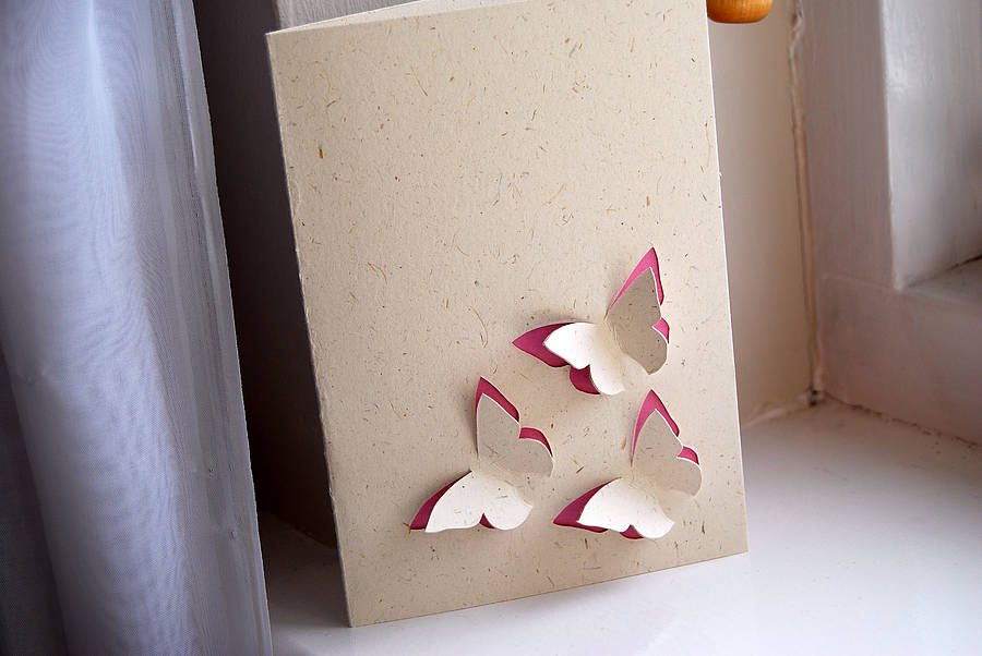 butterfly trio 3d personalised hand cut card by ruby wren designs