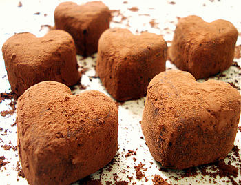 Four Handmade Heart Chocolate Truffles in Decorated Gift Box