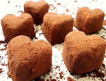 Four Handmade Heart Chocolate Truffles in Decorated Gift Box