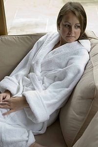 Verona Organic Cotton Towelling Bath Robe - bathroom