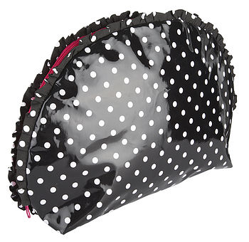 black polka frilled washbag