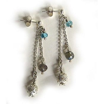 Grecian Drop Stud Earrings with Labradorite