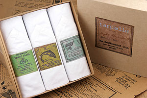 Box of Men's Hankies: Fishing