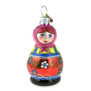 Russian Doll Glass Christmas Decoration