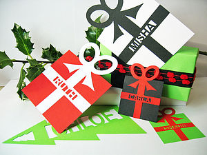 Giant Parcel Cut Out Gift Tag Bookmark - ribbon & wrap