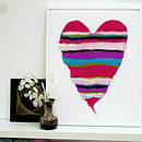 Striped Heart Hand Felted Wall Art