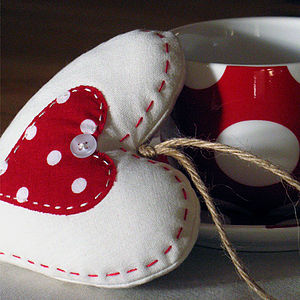 Ivory Polka-Dot Heart - hanging decorations
