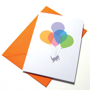 Cat Balloon Ride Card