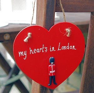 'My Heart's in London' Wooden Heart - frequent traveller