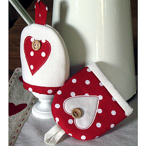 Pair of Polka-dot Egg Cosies - egg cups & cosies