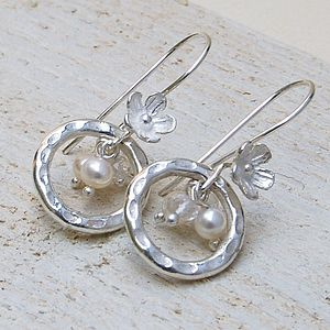 Sterling Silver, Pearl and Crystal Quartz Earrings