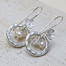 Silver, Pearl and Crystal Earrings