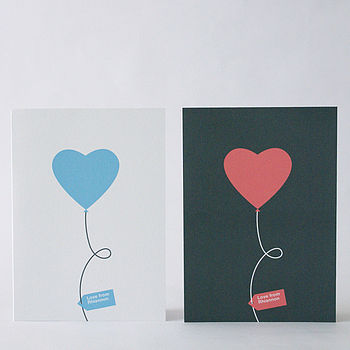 Set of Eight Personalised Love Balloon Notecards