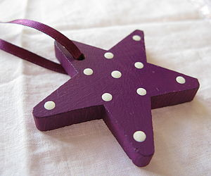 Hand-Painted Dotty Star Decoration - tree decorations