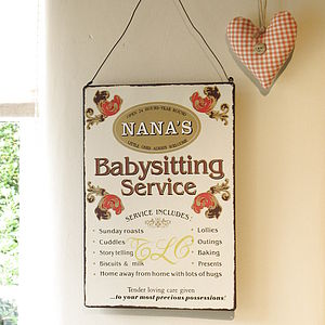 'Nana's Baby Sitting Services' Sign - decorative accessories