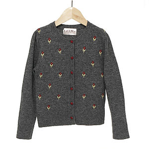 Cashmere And Wool Girls' Rosebud Cardigan