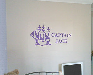 Pirate Personalised Wall Sticker - wall stickers