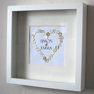 Personalised Button Heart Wedding Picture