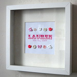 Personalised Baby Girl Button Picture