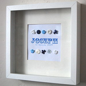 Personalised Baby Boy Button Picture - canvas prints & art