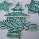 Set of 3 Handmade Porcelain Christmas Decorations