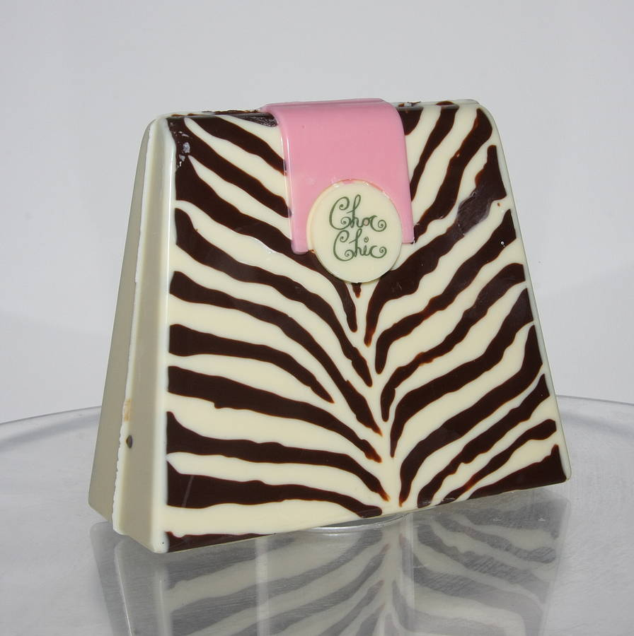 Large Chocolate Handbag Zebra Print