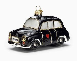 London Black Cab Glass Christmas Decoration