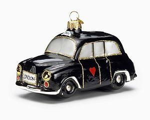 London Black Cab Glass Christmas Decoration