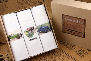 Box of Three Men's Hankies: Cars - men's accessories