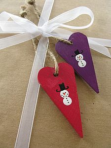 Hand-Painted Snowmen Heart Decorations